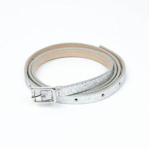 NEW J. Crew silver glitter leather skinny belt!